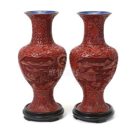 Pair of Cinnabar Lacquer Vases, Republic Period