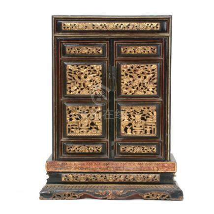 Gilt and Lacquer Painted Shrine Cabinet, Late Qing