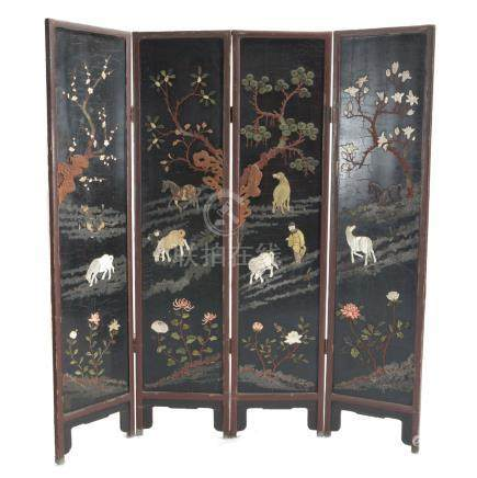 Four-Panel Lacquered Screen with Soapstone Inlay