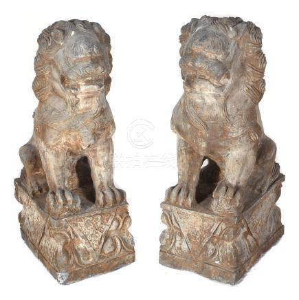 Pair of Stone Guardian Lions, Late Qing/Early Republic