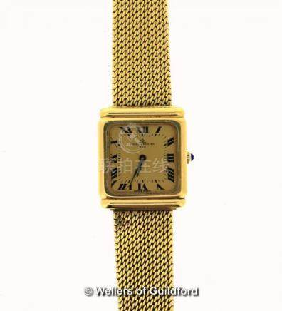 Gentlemen's Baume & Mercier 18ct gold bracelet watch, square dial with Roman numerals, gross