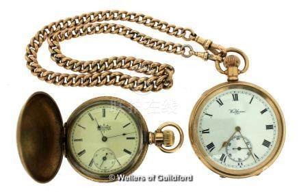 Waltham gold plated open faced pocket watch, with a 9ct Albert chain, weight 16.2 grams, together