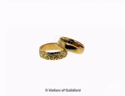 Two 18ct yellow gold wedding bands, weight together 10.7 grams, ring sizes N and O½