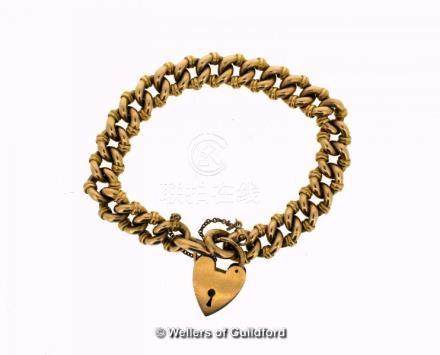 Yellow metal fancy linked bracelet stamped 15ct, with 18ct gold heart safety clasp, total weight