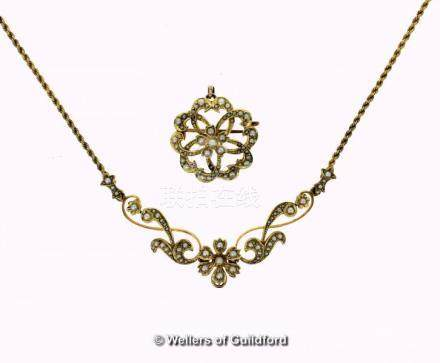 Seed pearl necklace, floral openwork design set with seed pearls, on an integral rope chain