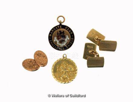 Selection of 9ct gold items, including a pair of cufflinks, a St Christopher pendant, a/f cracked, a