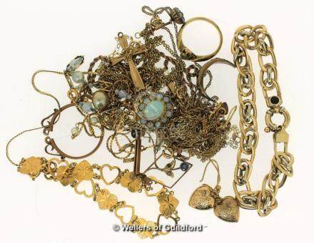Selection of mostly 9ct jewellery items, gross weight 44.9 grams