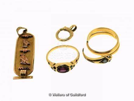 Selection of yellow metal jewellery items tested as 18ct, gross weight 13.9 grams