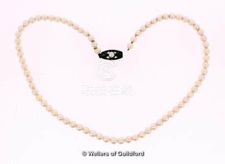 Mikimoto single row pearl necklace, length 36cm, a/f broken at clasp, in original box