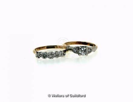 Five stone diamond ring, graduating single cut diamonds illusion set in white metal, on a yellow