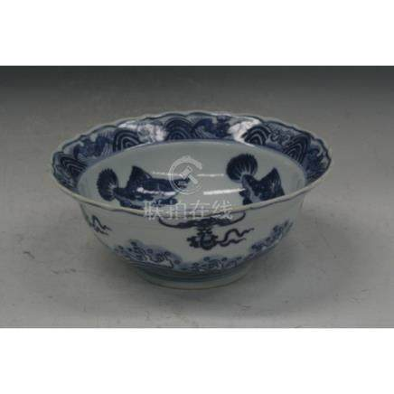 C18th. Blue And White Porcelain Bowl