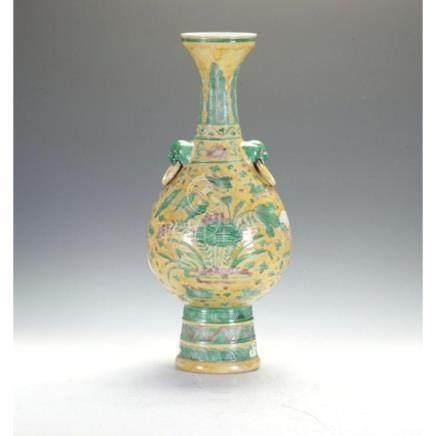 Large Three Colour Double Handled Vase