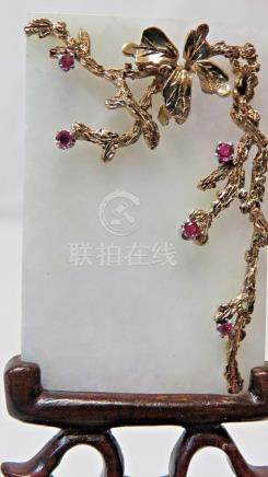 Antique Chinese White Jade MINI Table Screen with 14K Gold V