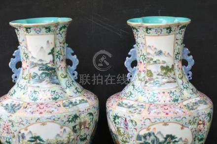 A pair large Famille Rose vase JiaQing mark