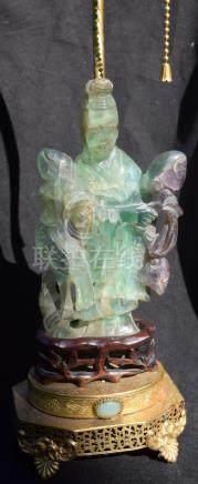 Antique Chinese Longevity Godness Statue Lamp