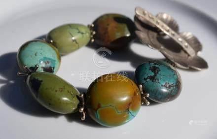 Huge Antique Turquoise Bead Silver Bracelet