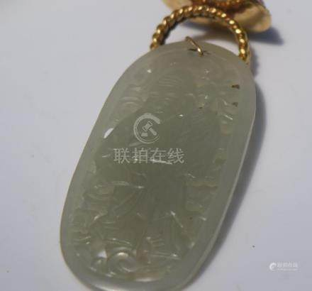 Antique Chinese Nephrite Longevity God Pendant with 14K