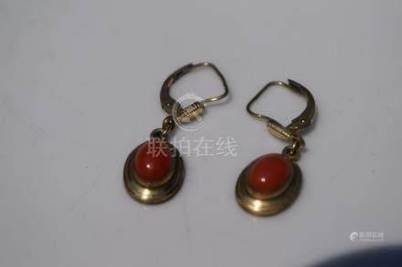Pair of Red Coral Earrings