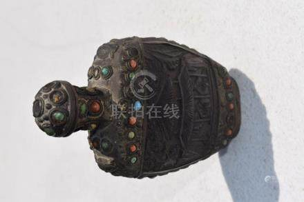 Antique Coral, Turquoise Snuff Bottle, Early Qing