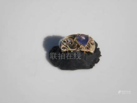Vintage 14K Gold Diamond Amethyst Ring