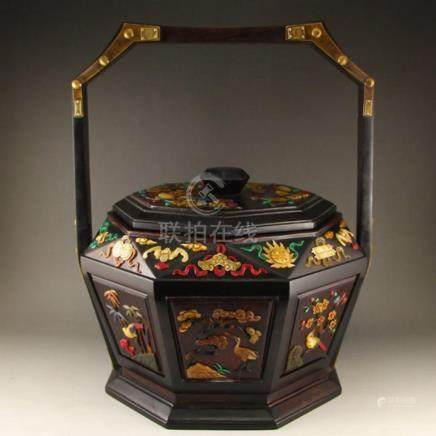 Chinese Qing Dynasty Zitan Wood Inlay Shells Food Box