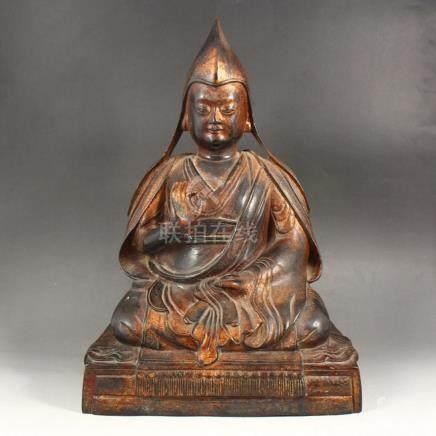 Vintage Tibetan Buddhism Gilt Gold Red Copper Tsongkhapa Sta