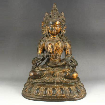 Vintage Tibetan Buddhism Gilt Gold Red Copper Tara Statue