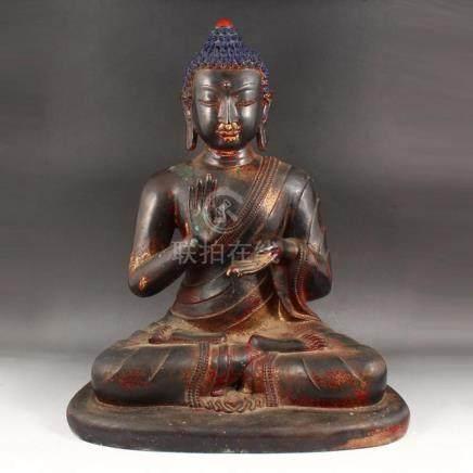 Chinese Ming Dynasty Gilt Gold Red Copper Siddhartha Buddha