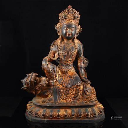 Vintage Tibetan Buddhist Gilt Gold Red Copper Manjushri Bodh