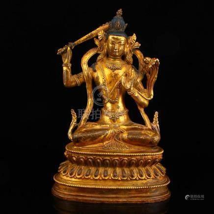 Vintage Tibetan Buddhism Gilt Gold Bronze Manjusri Boddhisat