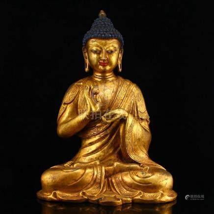 Chinese Ming Dynasty Gilt Gold Bronze Mahavairocana Buddha S
