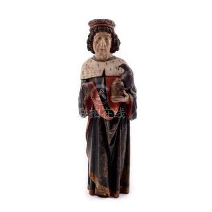 Gotische Schnitzfigur des Heiligen Oswald