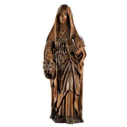 Spätgotische Schnitzfigur einer heiligen Nonne mit Buch und