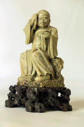 Buddhist Statue LUOHAN/ARHAT SOAPSTONE SCULPTURE 18TH/19TH C