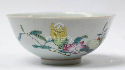 Large Fruit and Flowers apocryphal Qianlong red mark bowl. D
