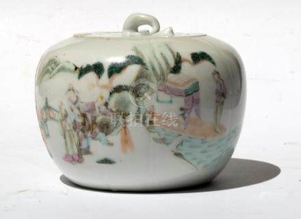Pumpkin jar with lid, Qianjiang style; China, early 20th C.