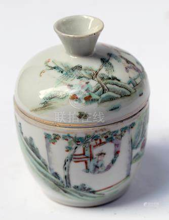 TEA CUP AND COVER (CHAWAN). PAINTED IN QIANJIANG STYLE, GUAN