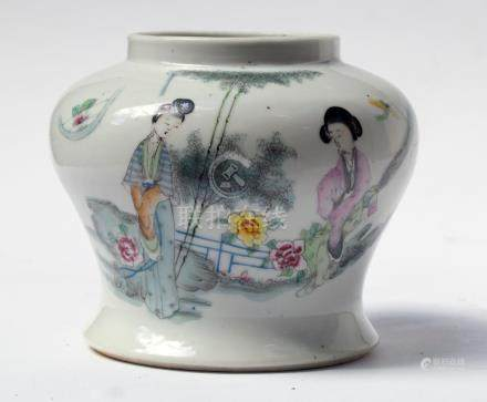 Porcelain ROUNDED WIDE MEIPING vase PAINTED IN QIANJIANG STY