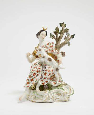 DIANA WITH HUNTING DOG Meissen, mid 18th century, Model by J