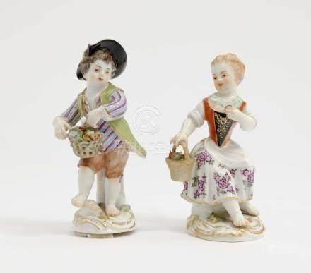 TWO GARDENING CHILDREN Meissen, after model by J. J. Kändler