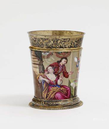 A CUP WITH COLOURFUL ENAMEL DECOR Augsburg, 1709 - 1712