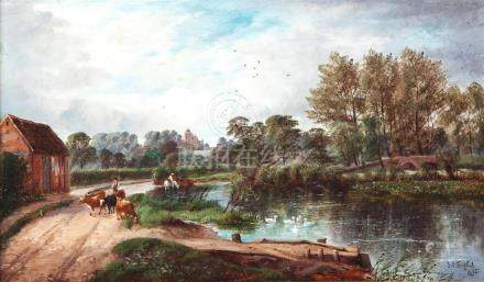 ON THE THAME AT WITTON BY JOHN JOSEPH HUGHES (UNITED KINGDOM