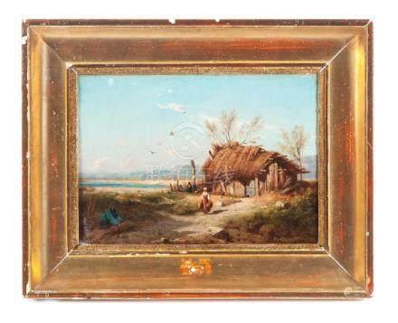 FARM SCENE BY ANTOINE PONTHUS-CINIER (FRANCE, 1812-1885).