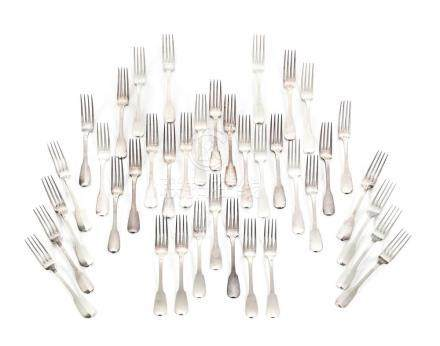 THIRTY-EIGHT FRENCH SILVER FORKS.