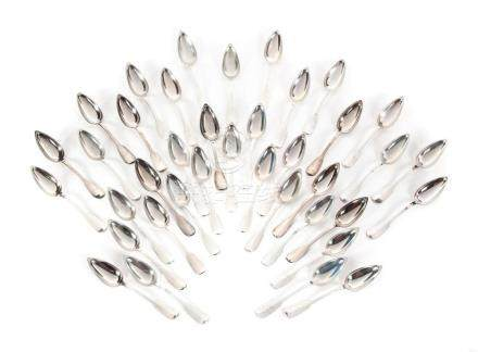 THIRTY-EIGHT FRENCH SILVER TABLESPOONS.