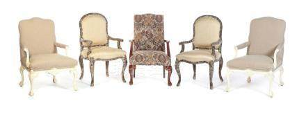 GROUP OF FIVE ARMCHAIRS.