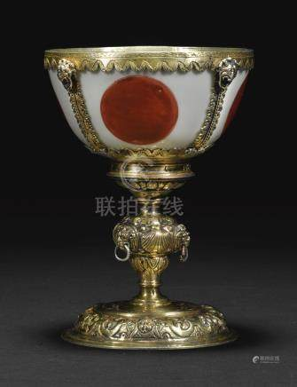A Ming dynasty bowl mounted in late 16th century parcel-gilt silver as a wine cup, the bowl Jiajing period, 1522-1566, the mounts unmarked, English or Continental Europe, circa 1580-1585