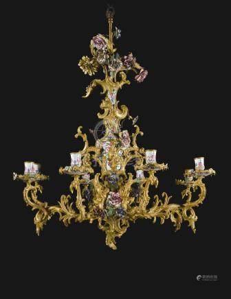 An Austrian gilt-bronze and enamelled eight-light chandelier, Vienna, circa 1760