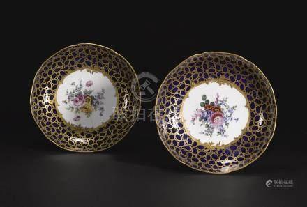 Two Sèvres (soft-paste) porcelain compotiers from the Louis XV Lapis service, 1768
