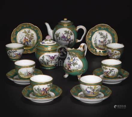 A Sèvres (soft-paste) porcelain part-tea service from the Duke of Parma green service, 1765